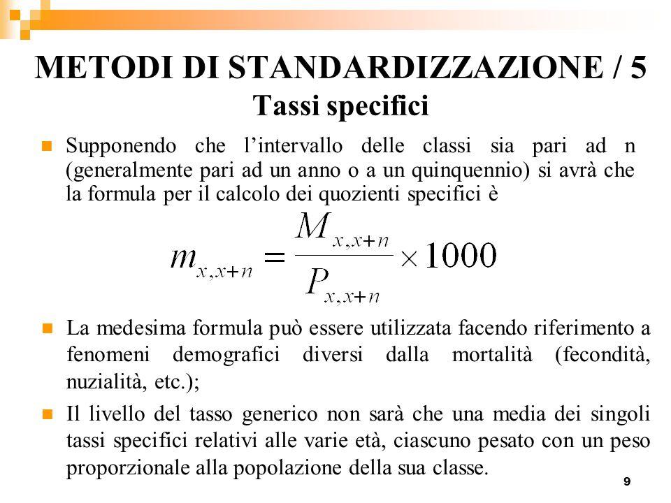 9 METODI DI STANDARDIZZAZIONE / 5 Tassi specifici Supponendo che lintervallo delle classi sia pari ad n (generalmente pari ad un anno o a un quinquenn