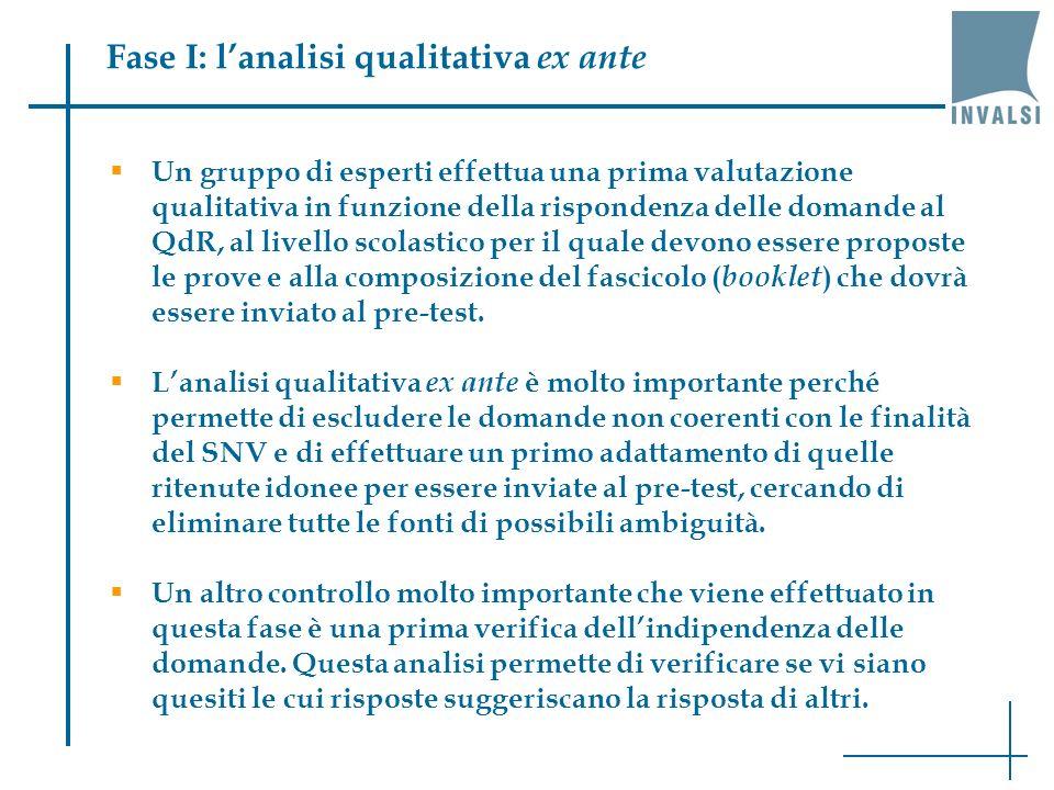 Fase I: lanalisi qualitativa ex ante Un gruppo di esperti effettua una prima valutazione qualitativa in funzione della rispondenza delle domande al QdR, al livello scolastico per il quale devono essere proposte le prove e alla composizione del fascicolo ( booklet ) che dovrà essere inviato al pre-test.