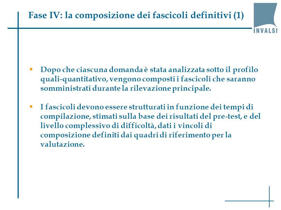 Fase IV: la composizione dei fascicoli definitivi (1) Dopo che ciascuna domanda è stata analizzata sotto il profilo quali-quantitativo, vengono composti i fascicoli che saranno somministrati durante la rilevazione principale.