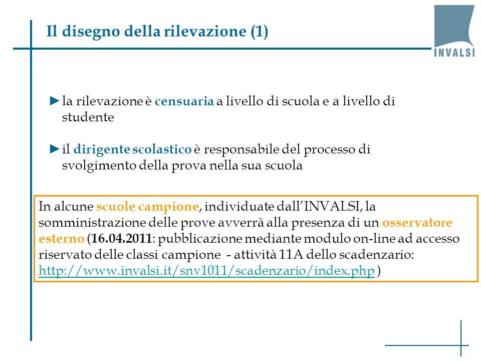 Il disegno della rilevazione (1) la rilevazione è censuaria a livello di scuola e a livello di studente il dirigente scolastico è responsabile del processo di svolgimento della prova nella sua scuola In alcune scuole campione, individuate dallINVALSI, la somministrazione delle prove avverrà alla presenza di un osservatore esterno ( 16.04.2011 : pubblicazione mediante modulo on-line ad accesso riservato delle classi campione - attività 11A dello scadenzario: http://www.invalsi.it/snv1011/scadenzario/index.php ) http://www.invalsi.it/snv1011/scadenzario/index.php