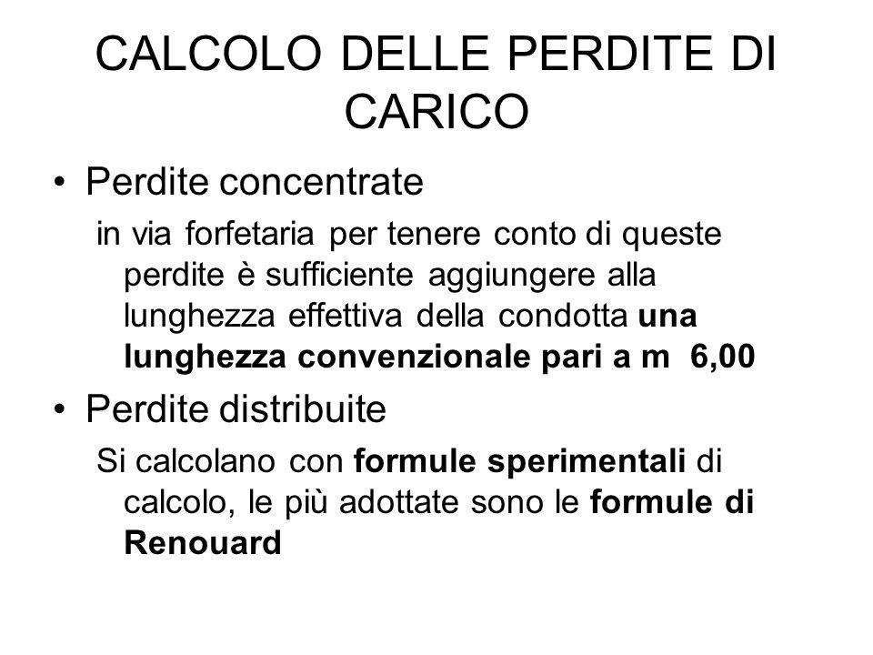CALCOLO DELLE PERDITE DI CARICO Perdite concentrate in via forfetaria per tenere conto di queste perdite è sufficiente aggiungere alla lunghezza effet