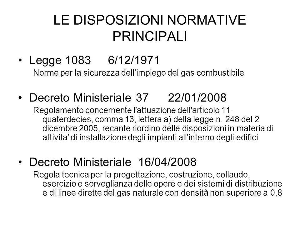 LE DISPOSIZIONI NORMATIVE PRINCIPALI Legge 10836/12/1971 Norme per la sicurezza dellimpiego del gas combustibile Decreto Ministeriale 3722/01/2008 Reg