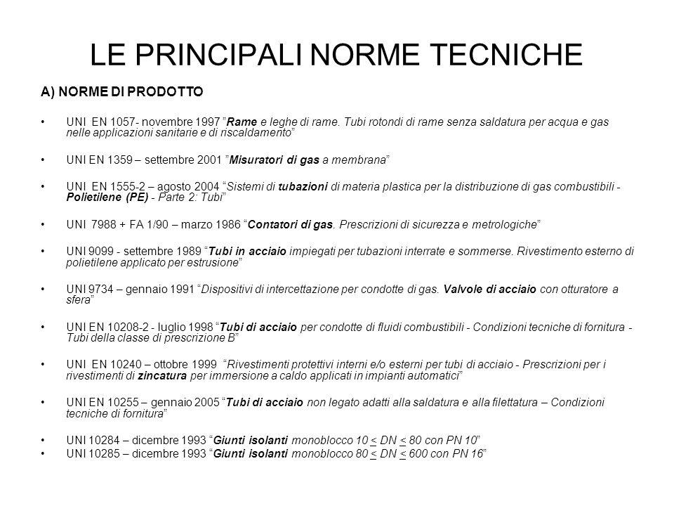 LE PRINCIPALI NORME TECNICHE A) NORME DI PRODOTTO UNI EN 1057- novembre 1997 Rame e leghe di rame. Tubi rotondi di rame senza saldatura per acqua e ga