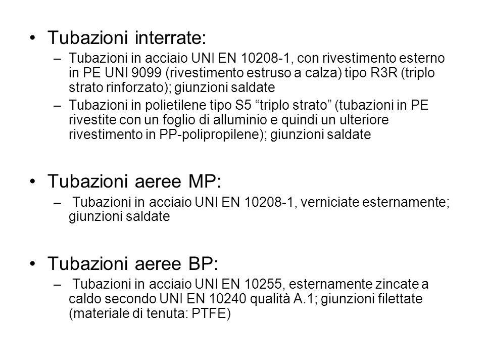 Tubazioni interrate: –Tubazioni in acciaio UNI EN 10208-1, con rivestimento esterno in PE UNI 9099 (rivestimento estruso a calza) tipo R3R (triplo str