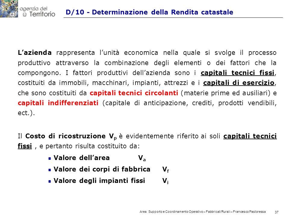 37 Area Supporto e Coordinamento Operativo – Fabbricati Rurali – Francesco Pastoressa 37 D/10 - Determinazione della Rendita catastale Lazienda rappresenta lunità economica nella quale si svolge il processo produttivo attraverso la combinazione degli elementi o dei fattori che la compongono.