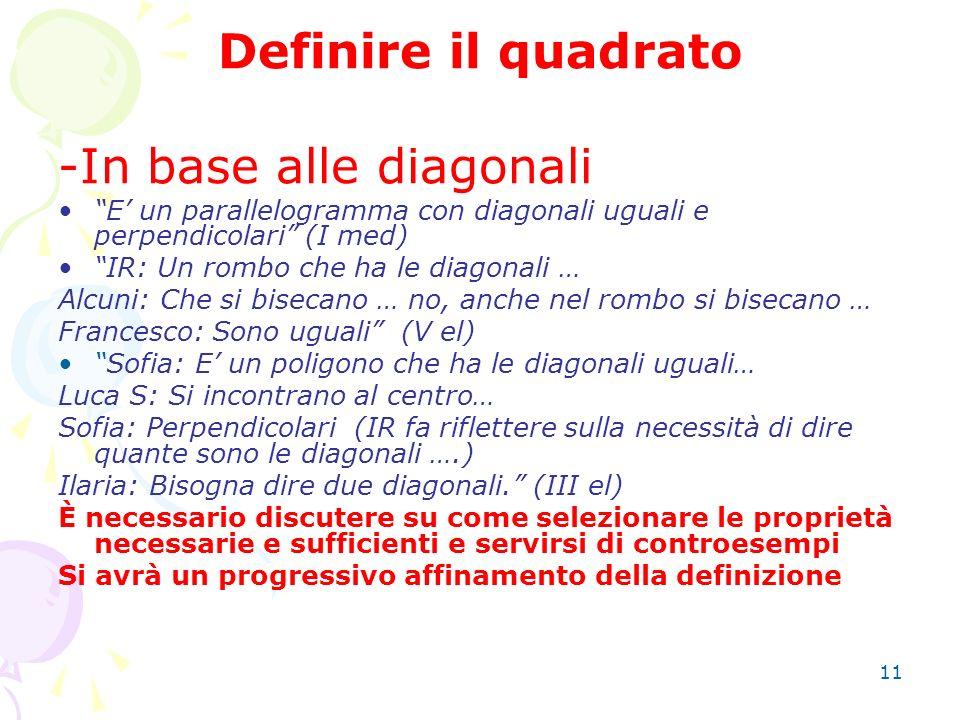 11 Definire il quadrato -In base alle diagonali E un parallelogramma con diagonali uguali e perpendicolari (I med) IR: Un rombo che ha le diagonali …