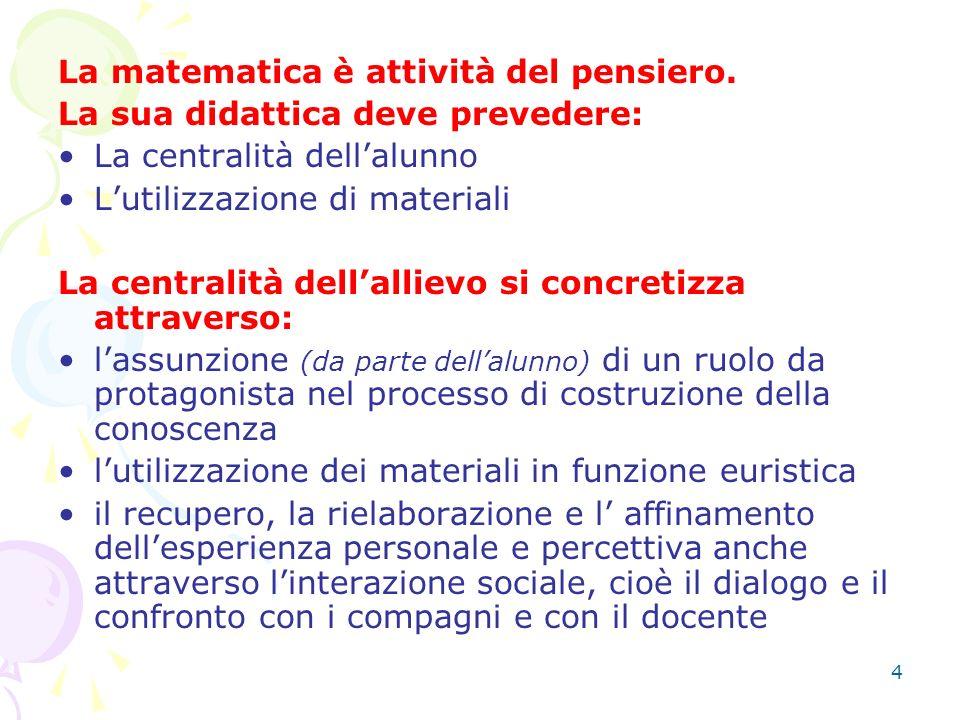 4 La matematica è attività del pensiero. La sua didattica deve prevedere: La centralità dellalunno Lutilizzazione di materiali La centralità dellallie