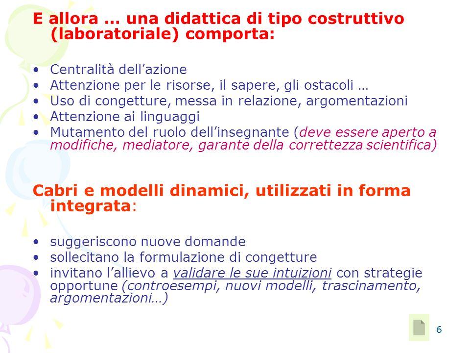 6 E allora … una didattica di tipo costruttivo (laboratoriale) comporta: Centralità dellazione Attenzione per le risorse, il sapere, gli ostacoli … Us
