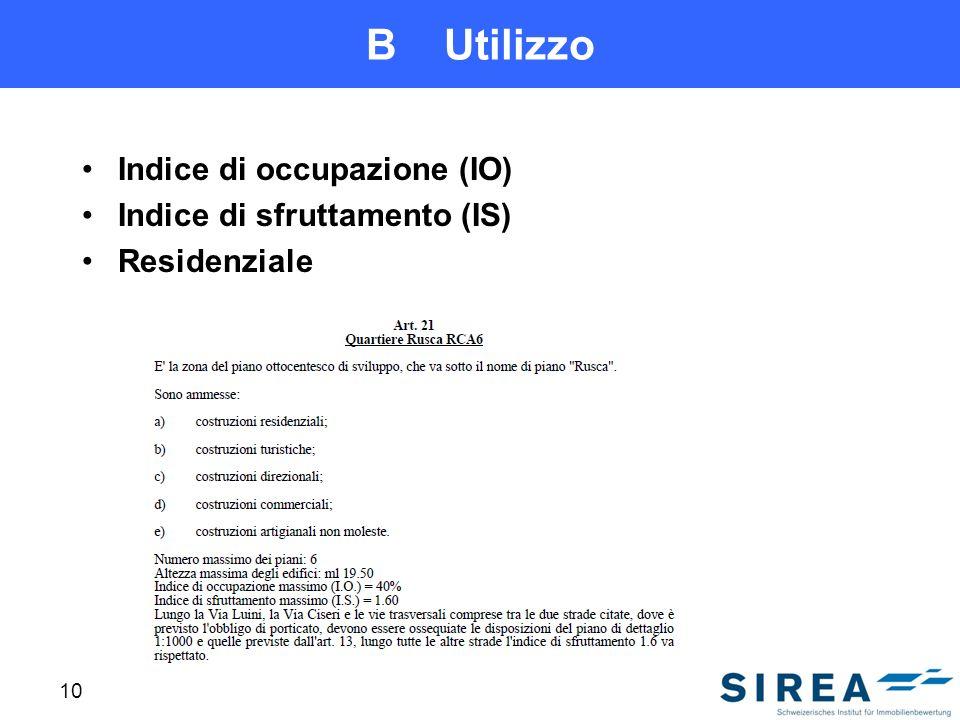 B Utilizzo Indice di occupazione (IO) Indice di sfruttamento (IS) Residenziale 10