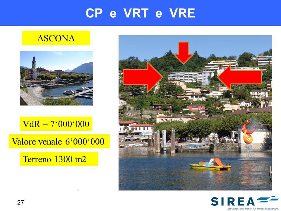 CP e VRT e VRE 27 ASCONA VdR = 7000000 Terreno 1300 m2 Valore venale 6000000