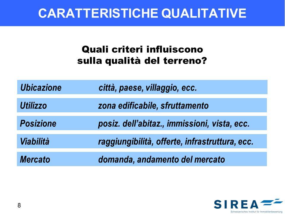 8 CARATTERISTICHE QUALITATIVE Quali criteri influiscono sulla qualità del terreno? Ubicazionecittà, paese, villaggio, ecc. Utilizzozona edificabile, s