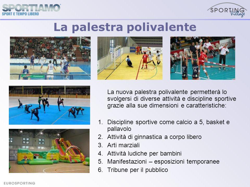 La palestra polivalente La nuova palestra polivalente permetterà lo svolgersi di diverse attività e discipline sportive grazie alla sue dimensioni e c