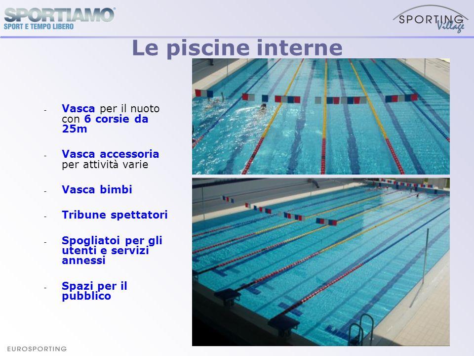 - Vasca per il nuoto con 6 corsie da 25m - Vasca accessoria per attivit à varie - Vasca bimbi - Tribune spettatori - Spogliatoi per gli utenti e servi