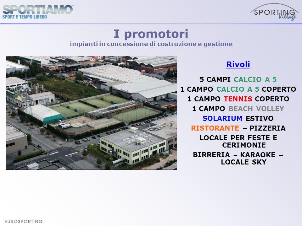 I promotori impianti in concessione di costruzione e gestione Rivoli 5 CAMPI CALCIO A 5 1 CAMPO CALCIO A 5 COPERTO 1 CAMPO TENNIS COPERTO 1 CAMPO BEAC