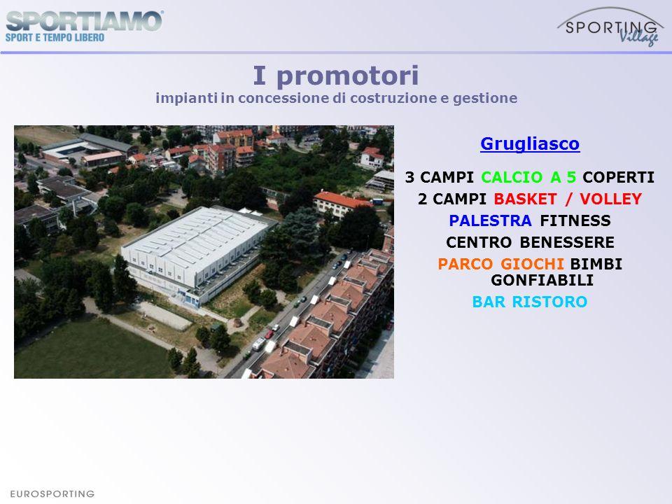 Grugliasco 3 CAMPI CALCIO A 5 COPERTI 2 CAMPI BASKET / VOLLEY PALESTRA FITNESS CENTRO BENESSERE PARCO GIOCHI BIMBI GONFIABILI BAR RISTORO I promotori
