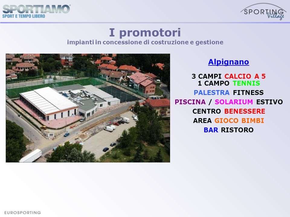 Alpignano 3 CAMPI CALCIO A 5 1 CAMPO TENNIS PALESTRA FITNESS PISCINA / SOLARIUM ESTIVO CENTRO BENESSERE AREA GIOCO BIMBI BAR RISTORO I promotori impia