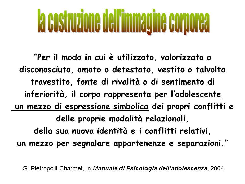 G. Pietropolli Charmet, in Manuale di Psicologia delladolescenza, 2004 Per il modo in cui è utilizzato, valorizzato o disconosciuto, amato o detestato