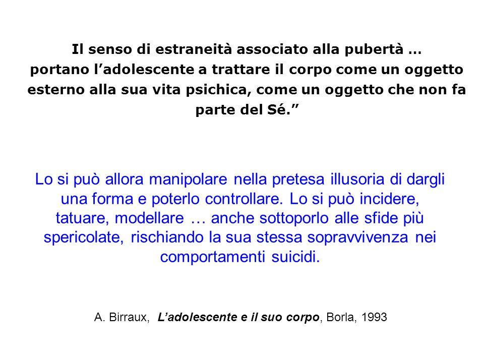 A. Birraux, Ladolescente e il suo corpo, Borla, 1993 Il senso di estraneità associato alla pubertà … portano ladolescente a trattare il corpo come un