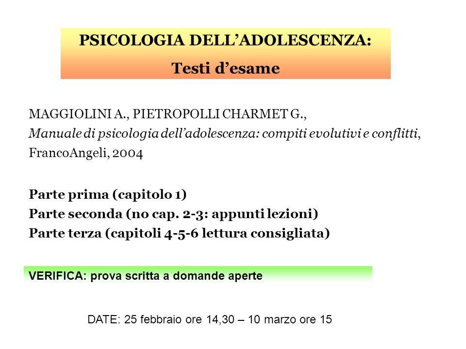 MAGGIOLINI A., PIETROPOLLI CHARMET G., Manuale di psicologia delladolescenza: compiti evolutivi e conflitti, FrancoAngeli, 2004 Parte prima (capitolo