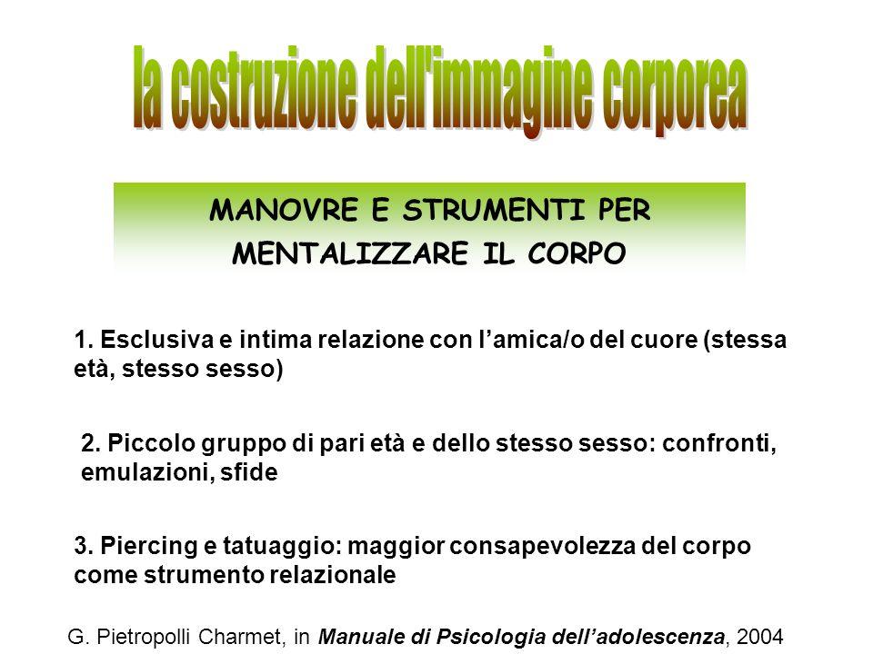 G. Pietropolli Charmet, in Manuale di Psicologia delladolescenza, 2004 MANOVRE E STRUMENTI PER MENTALIZZARE IL CORPO 1. Esclusiva e intima relazione c