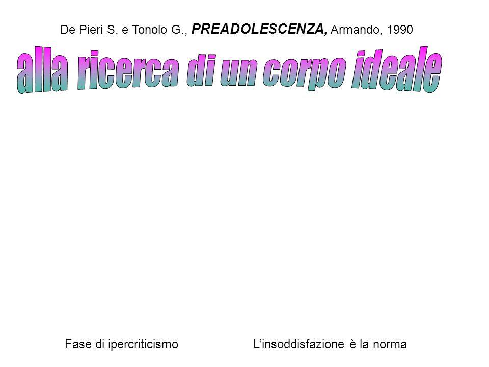 De Pieri S. e Tonolo G., PREADOLESCENZA, Armando, 1990 Fase di ipercriticismoLinsoddisfazione è la norma