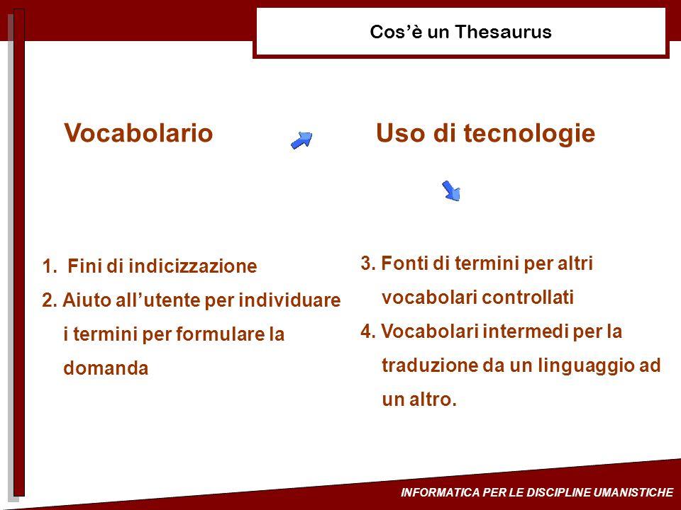 INFORMATICA PER LE DISCIPLINE UMANISTICHE Cosè un Thesaurus VocabolarioUso di tecnologie 1.Fini di indicizzazione 2. Aiuto allutente per individuare i