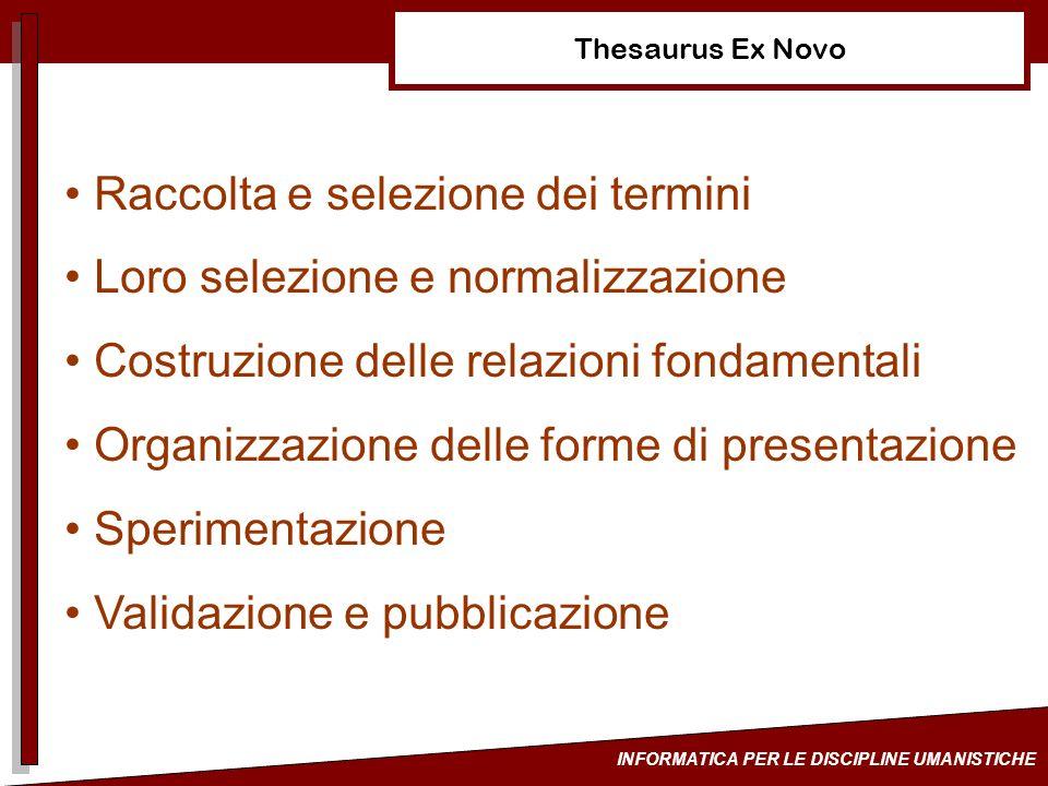 INFORMATICA PER LE DISCIPLINE UMANISTICHE Thesaurus Ex Novo Raccolta e selezione dei termini Loro selezione e normalizzazione Costruzione delle relazi