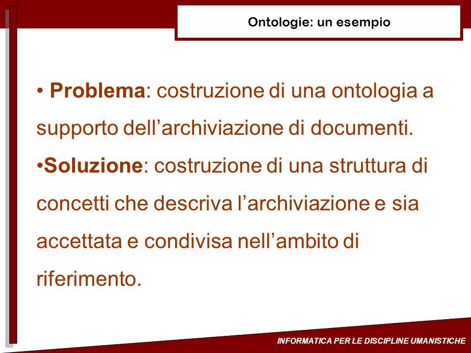 INFORMATICA PER LE DISCIPLINE UMANISTICHE Ontologie: un esempio Problema: costruzione di una ontologia a supporto dellarchiviazione di documenti. Solu