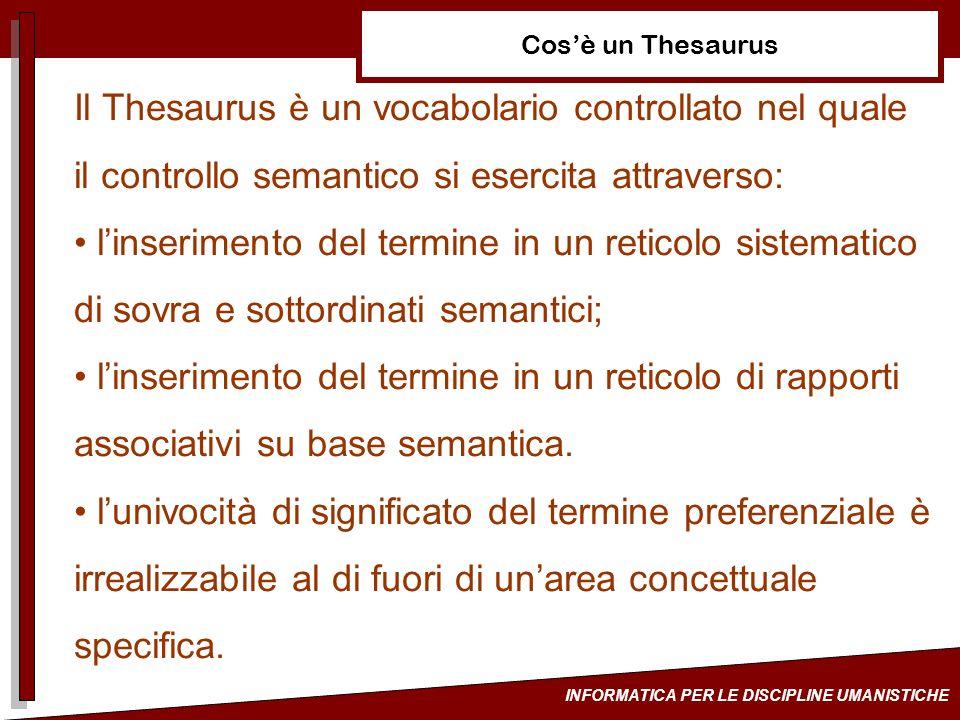 INFORMATICA PER LE DISCIPLINE UMANISTICHE Cosè un Thesaurus Il Thesaurus è un vocabolario controllato nel quale il controllo semantico si esercita att