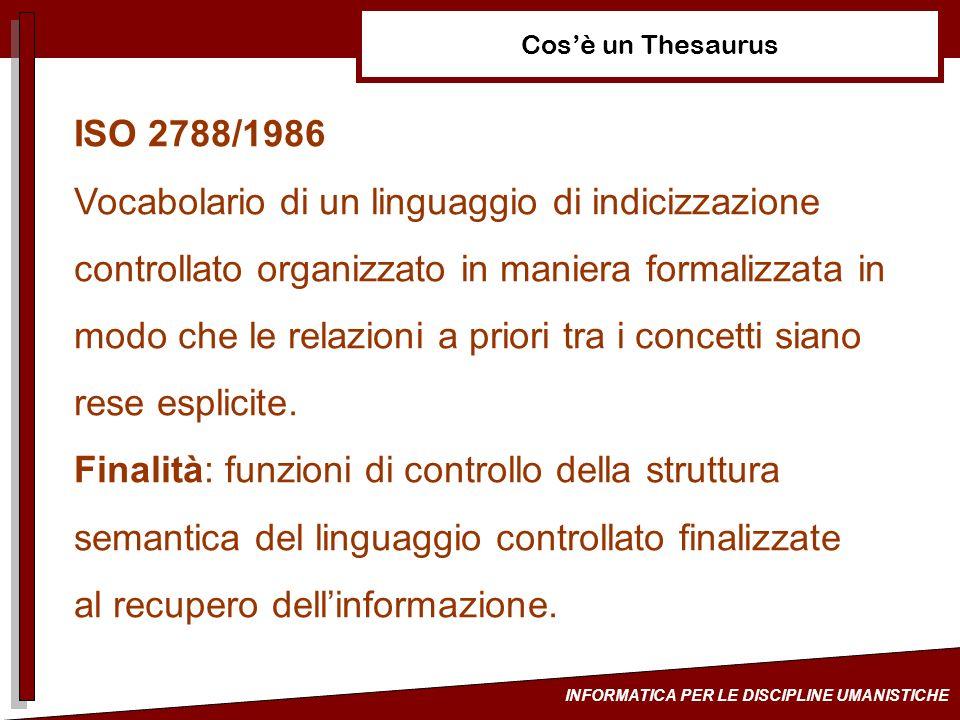 INFORMATICA PER LE DISCIPLINE UMANISTICHE Metodologie di sviluppo ISO 2788/96 Deduttivo: costruzione della terminologia partendo da uno schema che è dato dai termini indicanti le categorie generali e le loro specificazioni.