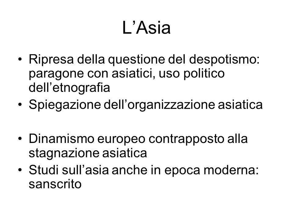 LAsia Ripresa della questione del despotismo: paragone con asiatici, uso politico delletnografia Spiegazione dellorganizzazione asiatica Dinamismo eur