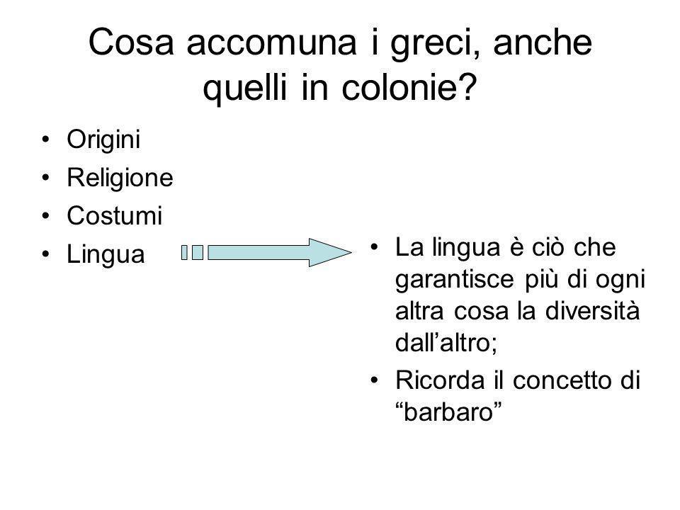 Cosa accomuna i greci, anche quelli in colonie? Origini Religione Costumi Lingua La lingua è ciò che garantisce più di ogni altra cosa la diversità da