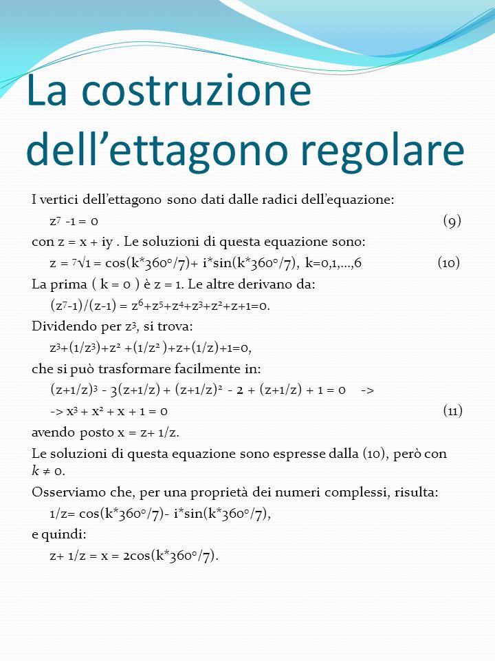 La costruzione dellettagono regolare I vertici dellettagono sono dati dalle radici dellequazione: z 7 -1 = 0 (9) con z = x + iy. Le soluzioni di quest