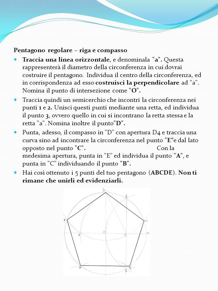 Pentagono regolare – riga e compasso Traccia una linea orizzontale, e denominala