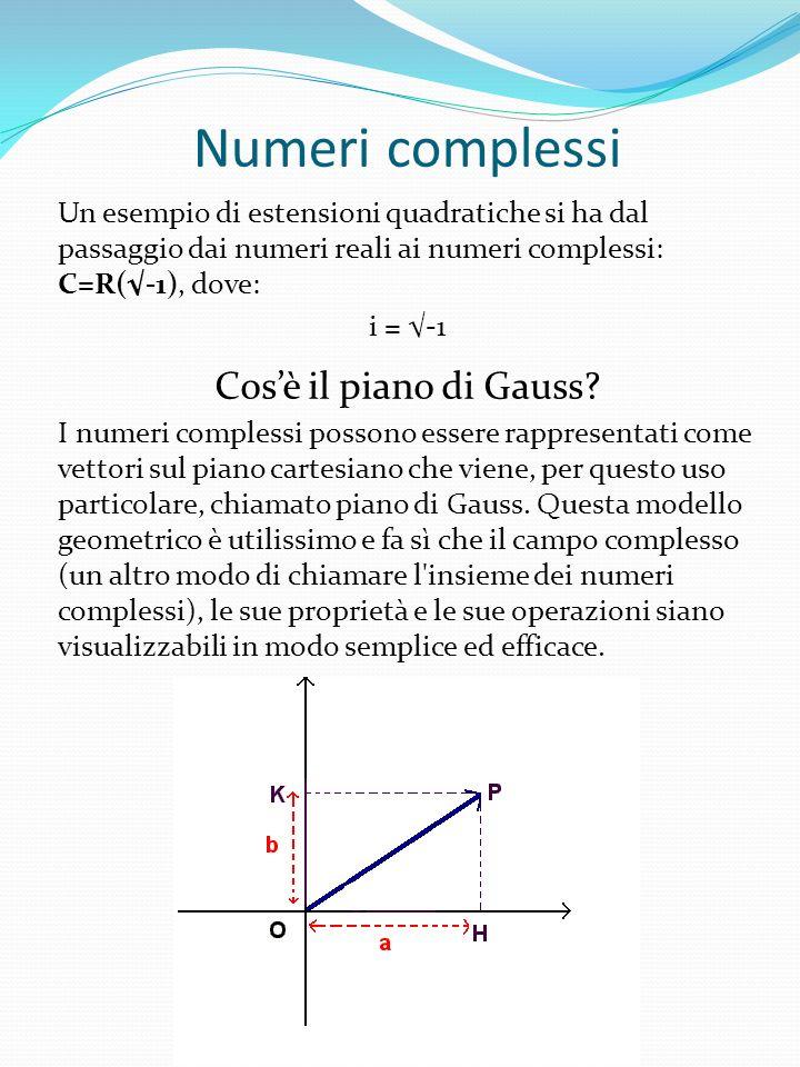 Numeri complessi Un esempio di estensioni quadratiche si ha dal passaggio dai numeri reali ai numeri complessi: C=R(-1), dove: i = -1 Cosè il piano di