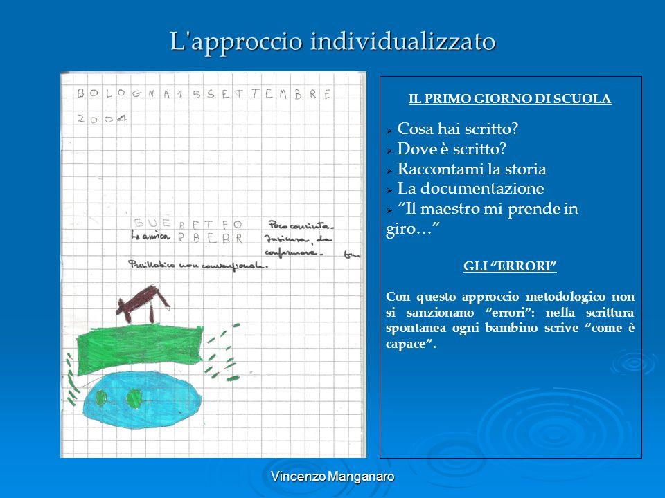 Vincenzo Manganaro L'approccio individualizzato IL PRIMO GIORNO DI SCUOLA Cosa hai scritto? Dove è scritto? Raccontami la storia La documentazione Il