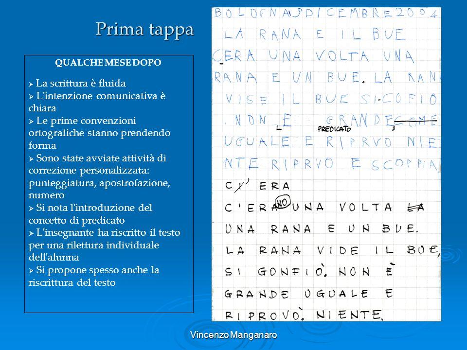 Vincenzo Manganaro Prima tappa QUALCHE MESE DOPO La scrittura è fluida L'intenzione comunicativa è chiara Le prime convenzioni ortografiche stanno pre