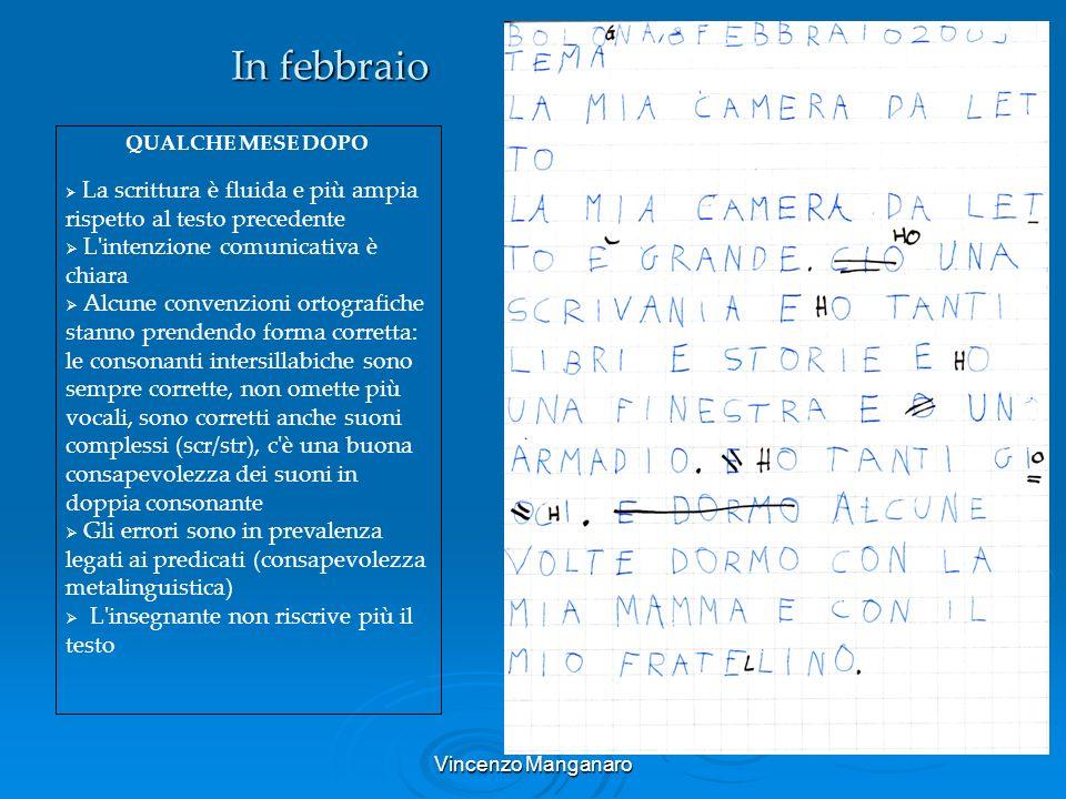 Vincenzo Manganaro In febbraio QUALCHE MESE DOPO La scrittura è fluida e più ampia rispetto al testo precedente L'intenzione comunicativa è chiara Alc