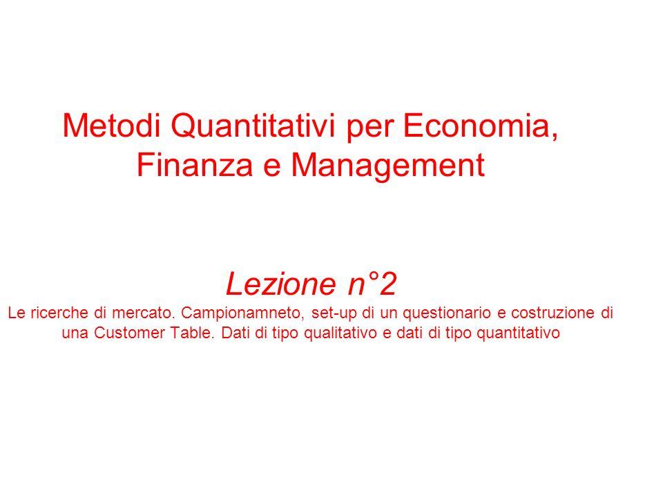 Metodi Quantitativi per Economia, Finanza e Management Lezione n°2 Le ricerche di mercato.