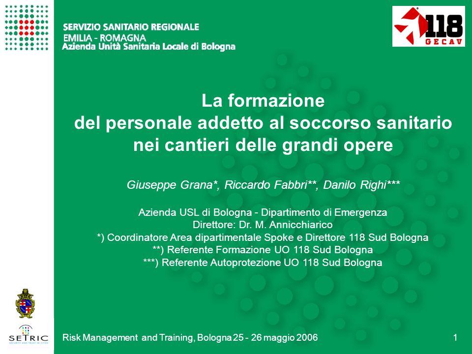 Risk Management and Training, Bologna 25 - 26 maggio 200612 TAV: il Nodo di Bologna Questa è la testa fresante in grado di operare anche in iperbarismo nei terreni ricchi di acqua.