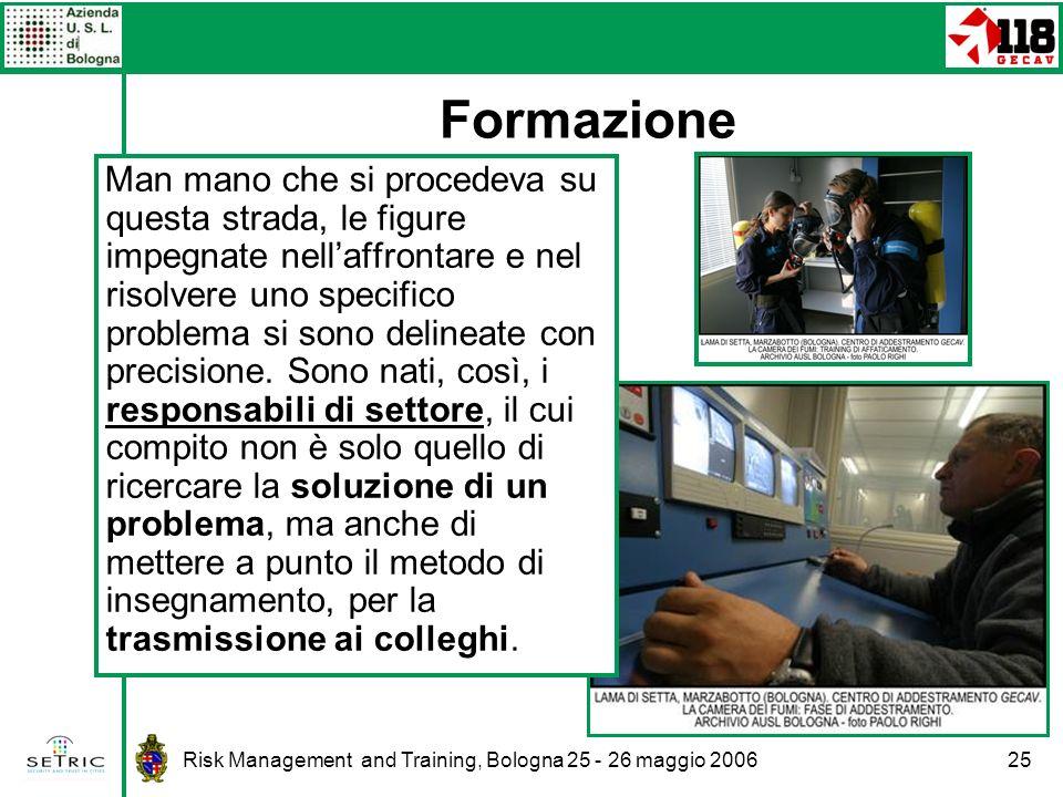 Risk Management and Training, Bologna 25 - 26 maggio 200625 Formazione Man mano che si procedeva su questa strada, le figure impegnate nellaffrontare e nel risolvere uno specifico problema si sono delineate con precisione.