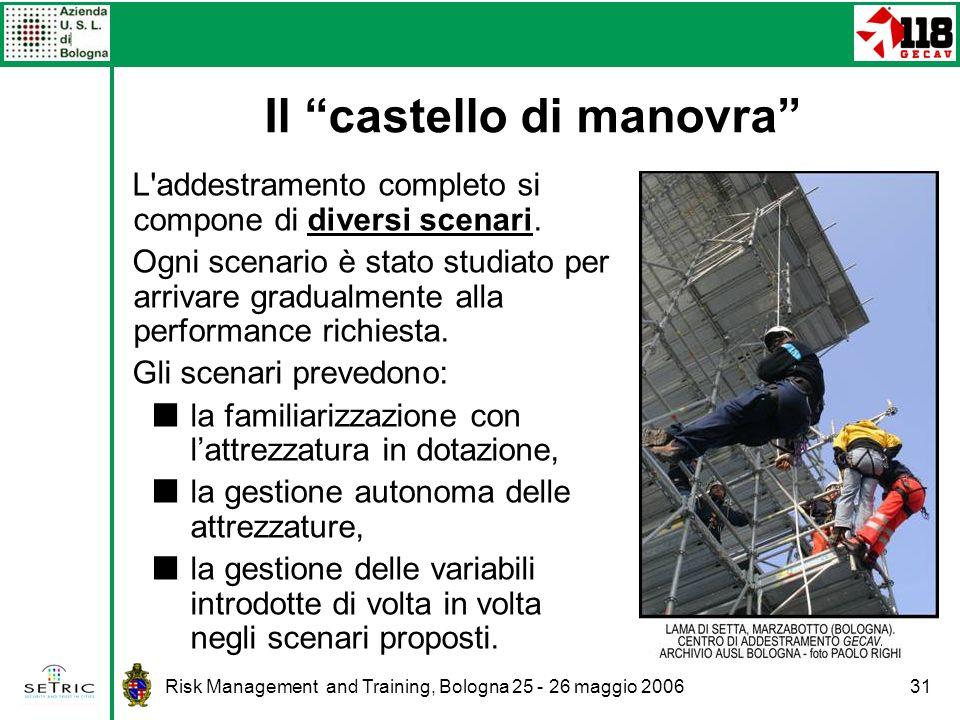 Risk Management and Training, Bologna 25 - 26 maggio 200631 L addestramento completo si compone di diversi scenari.