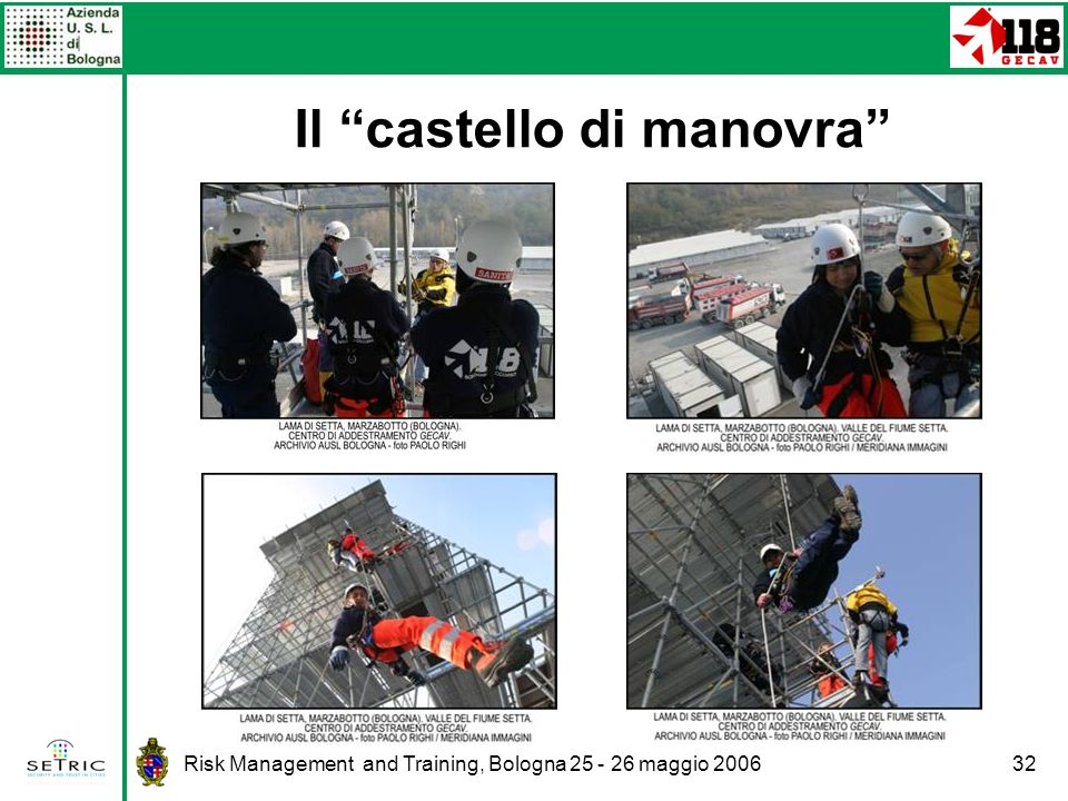 Risk Management and Training, Bologna 25 - 26 maggio 200632 Il castello di manovra