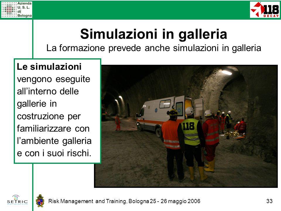 Risk Management and Training, Bologna 25 - 26 maggio 200633 Simulazioni in galleria La formazione prevede anche simulazioni in galleria Le simulazioni vengono eseguite allinterno delle gallerie in costruzione per familiarizzare con lambiente galleria e con i suoi rischi.