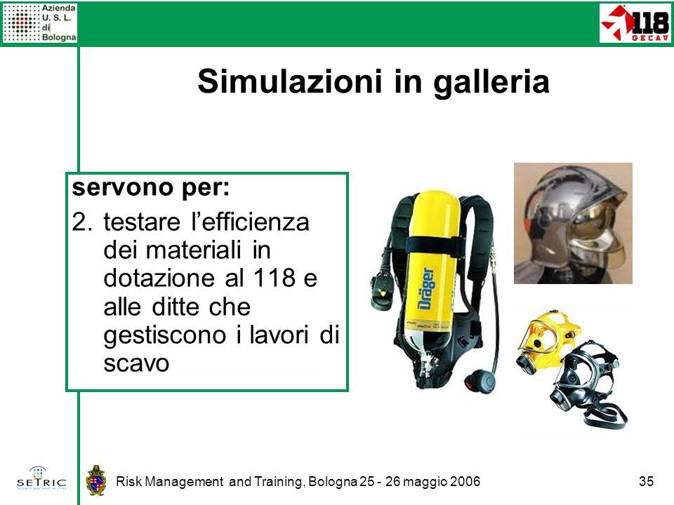 Risk Management and Training, Bologna 25 - 26 maggio 200635 servono per: 2.testare lefficienza dei materiali in dotazione al 118 e alle ditte che gestiscono i lavori di scavo Simulazioni in galleria