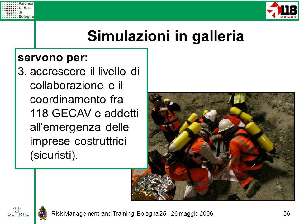 Risk Management and Training, Bologna 25 - 26 maggio 200636 Simulazioni in galleria servono per: 3.accrescere il livello di collaborazione e il coordinamento fra 118 GECAV e addetti allemergenza delle imprese costruttrici (sicuristi).