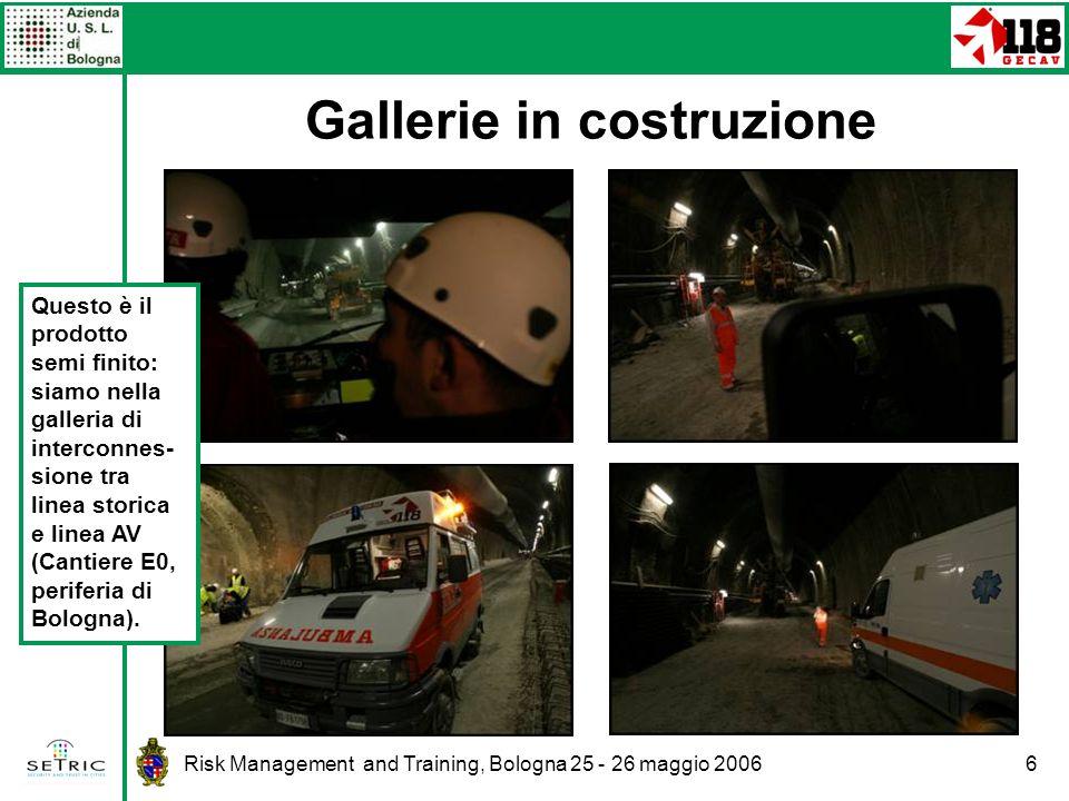 Risk Management and Training, Bologna 25 - 26 maggio 20066 Gallerie in costruzione Questo è il prodotto semi finito: siamo nella galleria di interconnes- sione tra linea storica e linea AV (Cantiere E0, periferia di Bologna).