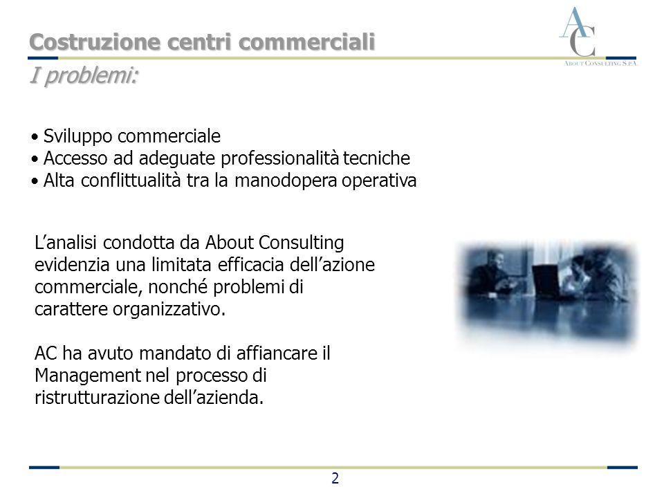 2 Lanalisi condotta da About Consulting evidenzia una limitata efficacia dellazione commerciale, nonché problemi di carattere organizzativo. AC ha avu