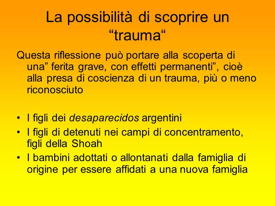 La possibilità di scoprire un trauma Questa riflessione può portare alla scoperta di una ferita grave, con effetti permanenti, cioè alla presa di cosc