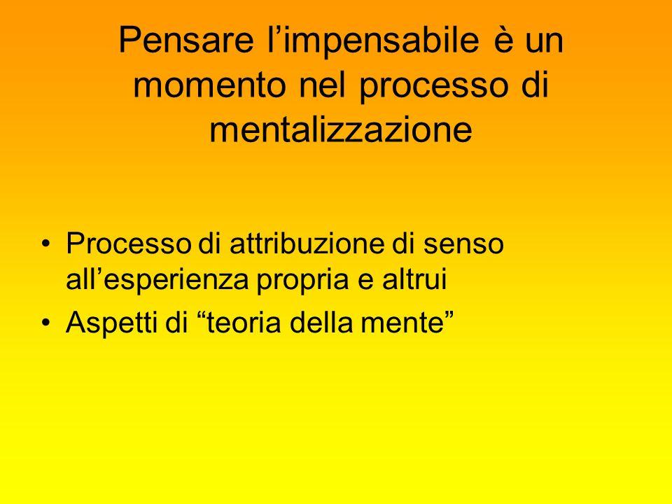 Pensare limpensabile è un momento nel processo di mentalizzazione Processo di attribuzione di senso allesperienza propria e altrui Aspetti di teoria d